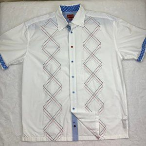 Tommy Hilfiger White Red Blue Geometric Shirt